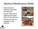 machine maintenance safety