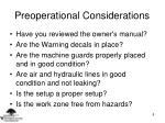 preoperational considerations