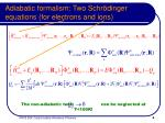 adiabatic formalism two schr dinger equations for electrons and ions