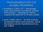 procurement for the global programs