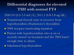 differential diagnoses for elevated tsh with normal ft4