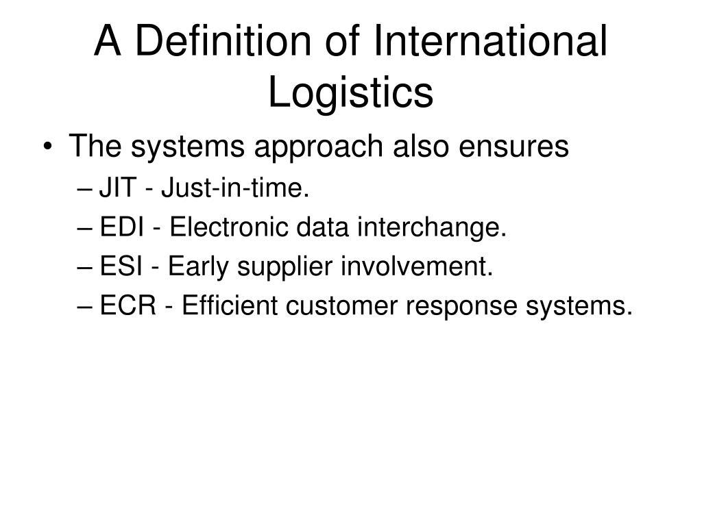 A Definition of International Logistics