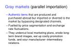 gray markets parallel importation