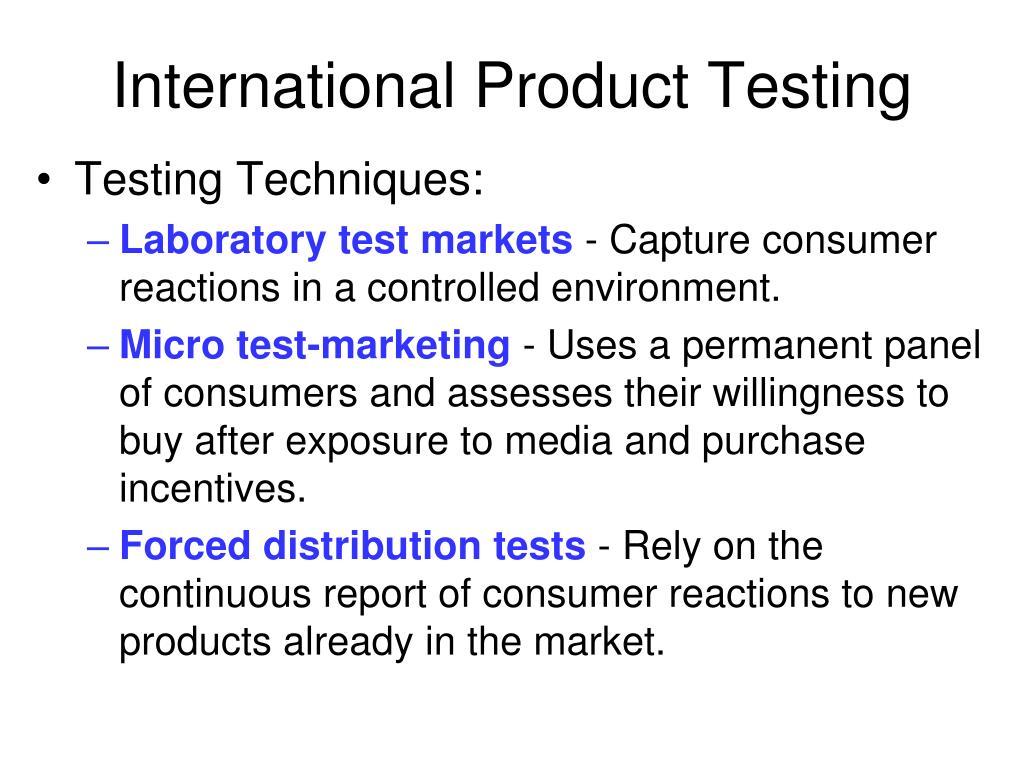 International Product Testing
