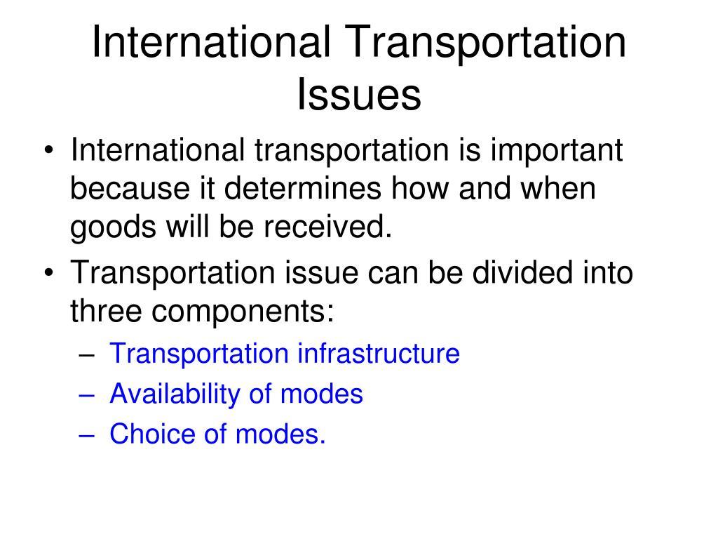 International Transportation Issues