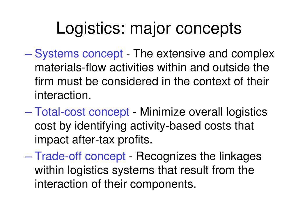 Logistics: major concepts