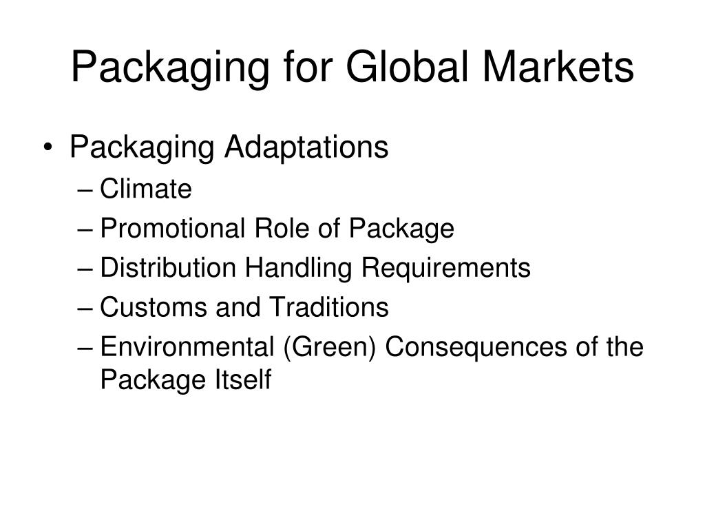 Packaging for Global Markets