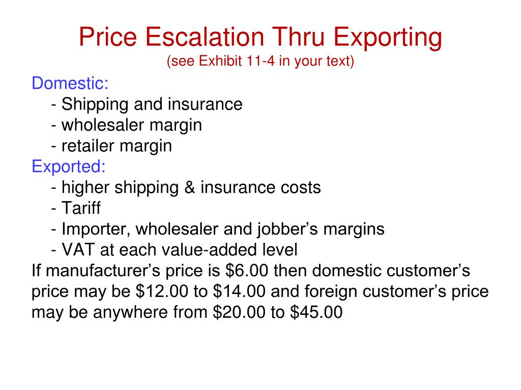 Price Escalation Thru Exporting