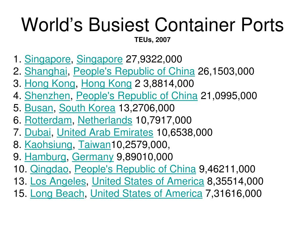 World's Busiest Container Ports