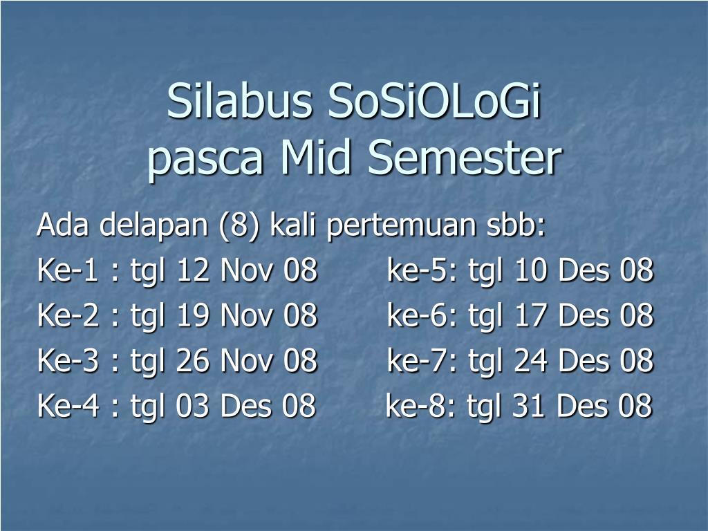 silabus sosiologi pasca mid semester l.