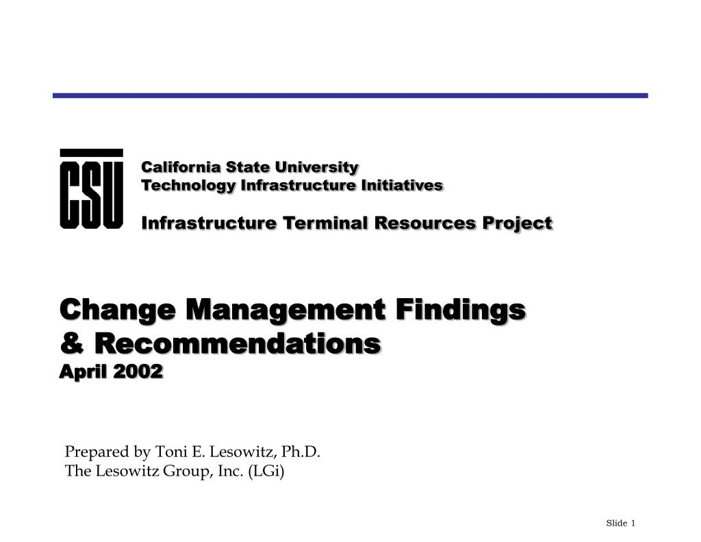 change management findings recommendations april 2002 l.