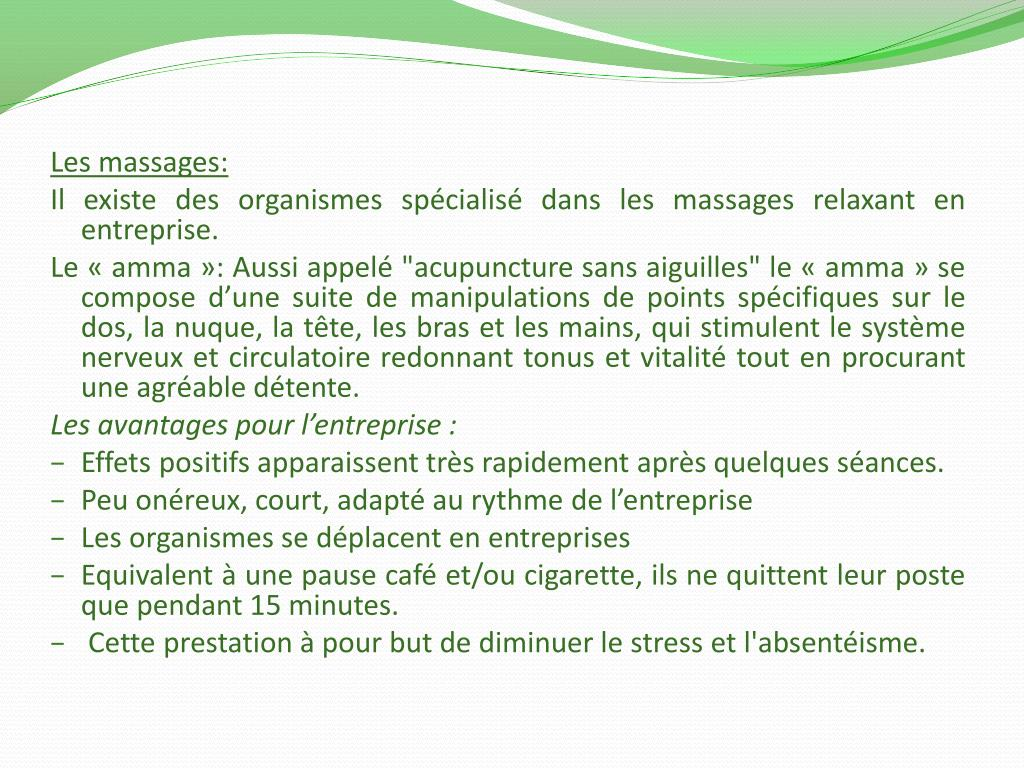 Les massages: