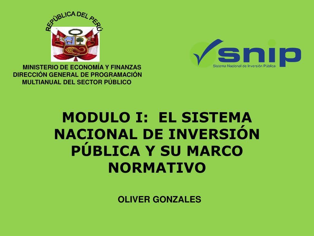 modulo i el sistema nacional de inversi n p blica y su marco normativo l.