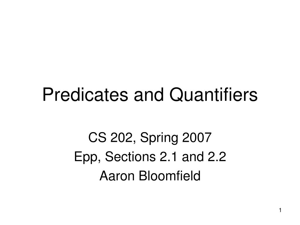 predicates and quantifiers l.