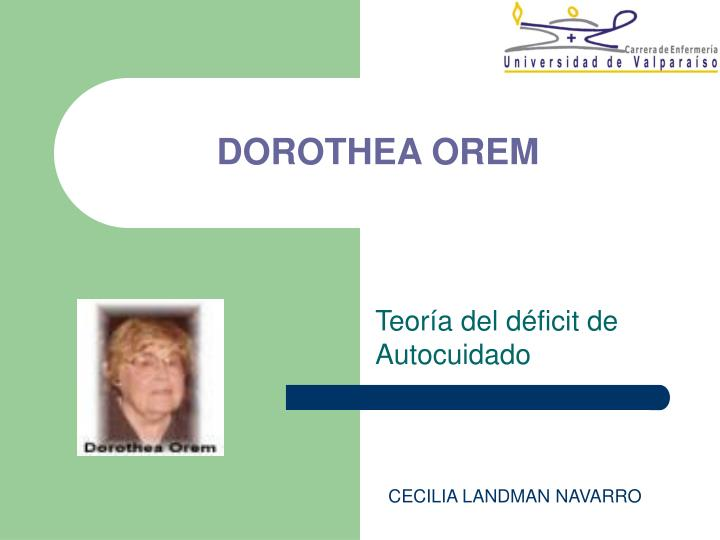 dorothea orem ppt Nursing theory powerpoint compassionate  dorothea orem the self-care deficit theory when nursing is needed nursing is required when an adult (or in the case of a dependent, the parent or.
