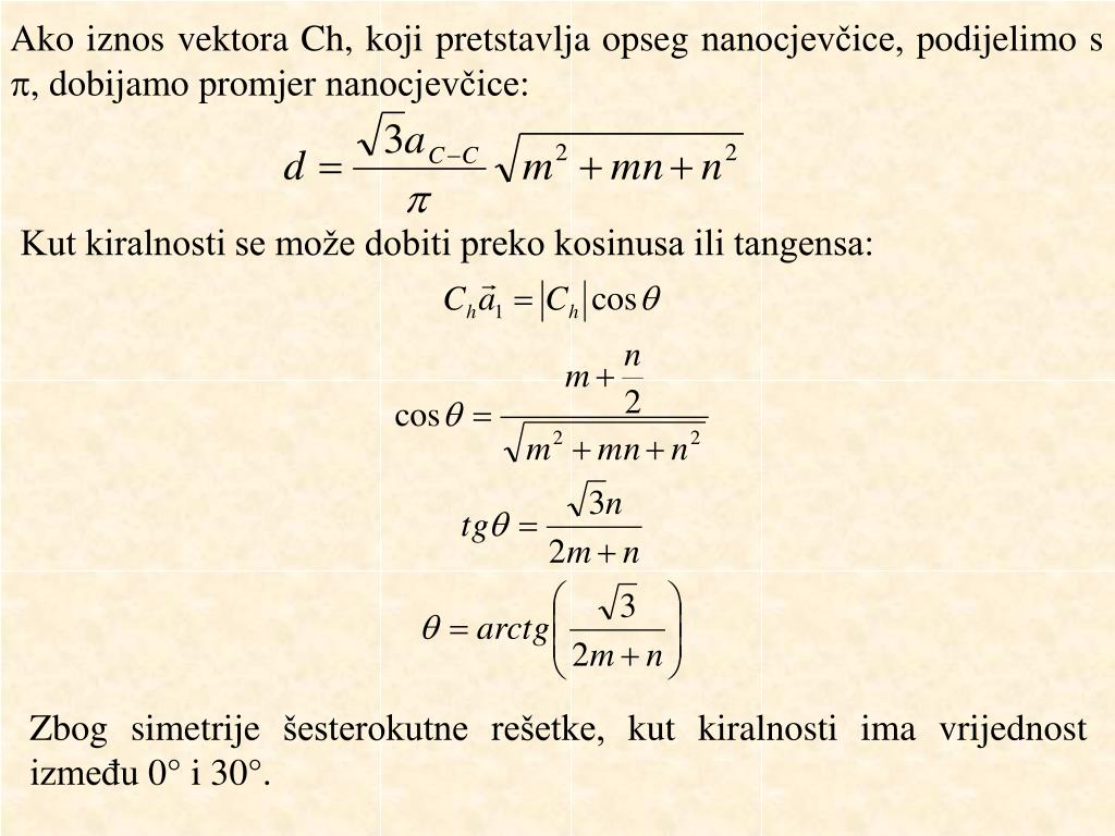 Ako iznos vektora Ch, koji pretstavlja opseg nanocjevčice, podijelimo s