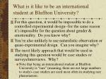 what is it like to be an international student at bluffton university