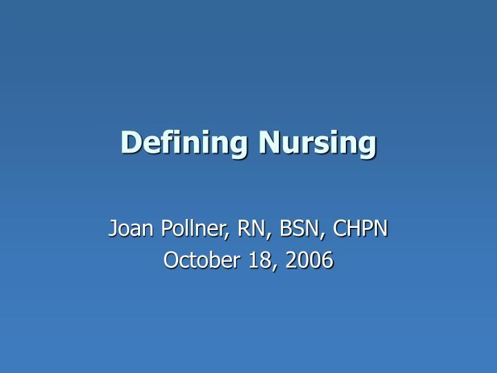 defining nursing n.
