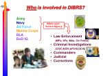 who is involved in dibrs