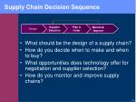 supply chain decision sequence