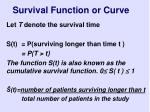 survival function or curve