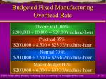 budgeted fixed manufacturing overhead rate50