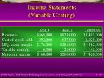 income statements variable costing