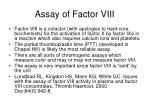 assay of factor viii