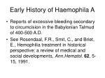 early history of haemophila a