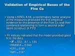 validation of empirical bases of the five cs