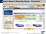 project balance sheet key figures screenshot