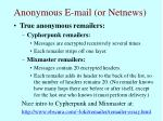 anonymous e mail or netnews73