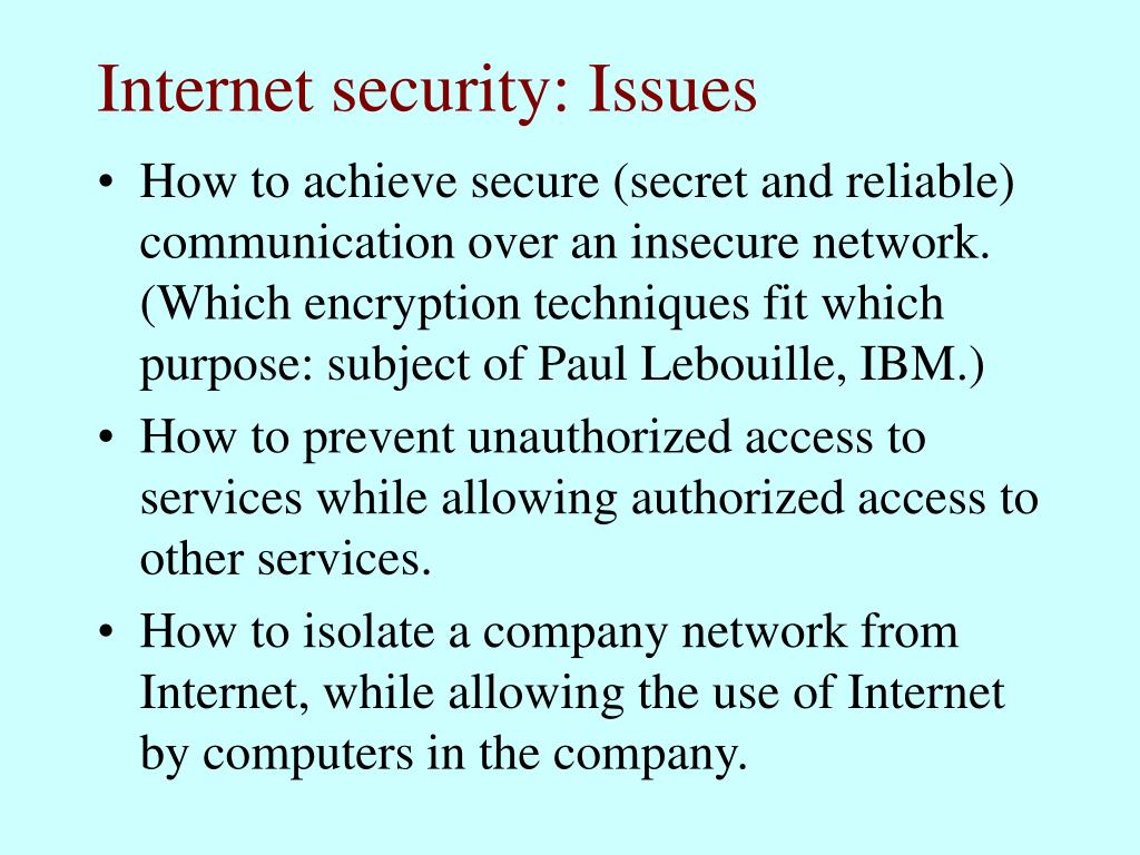 Internet security: Issues