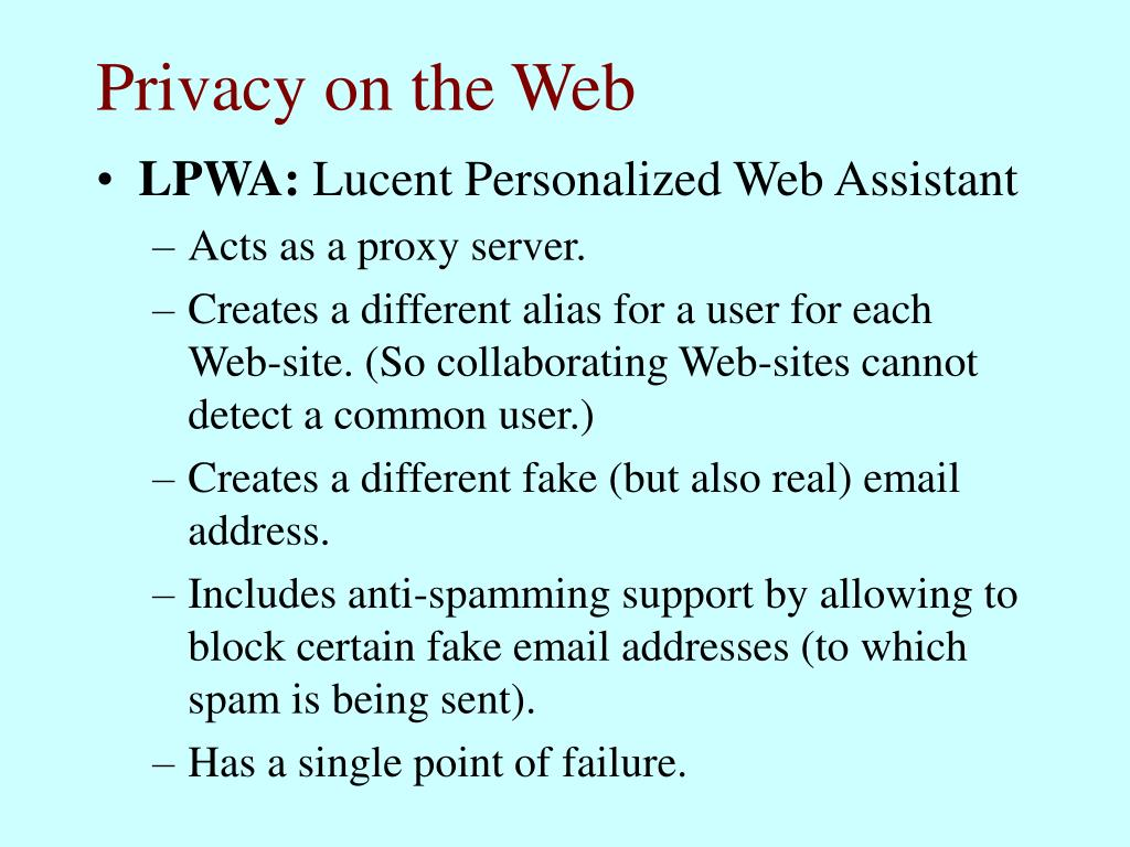 Privacy on the Web