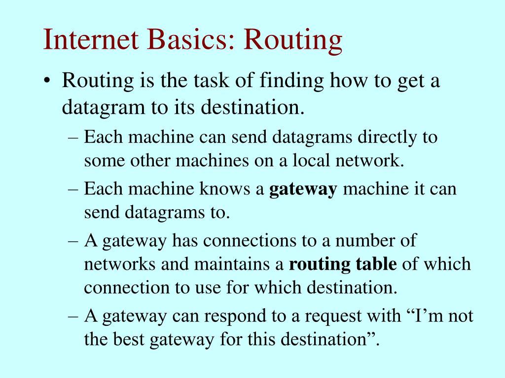 Internet Basics: Routing