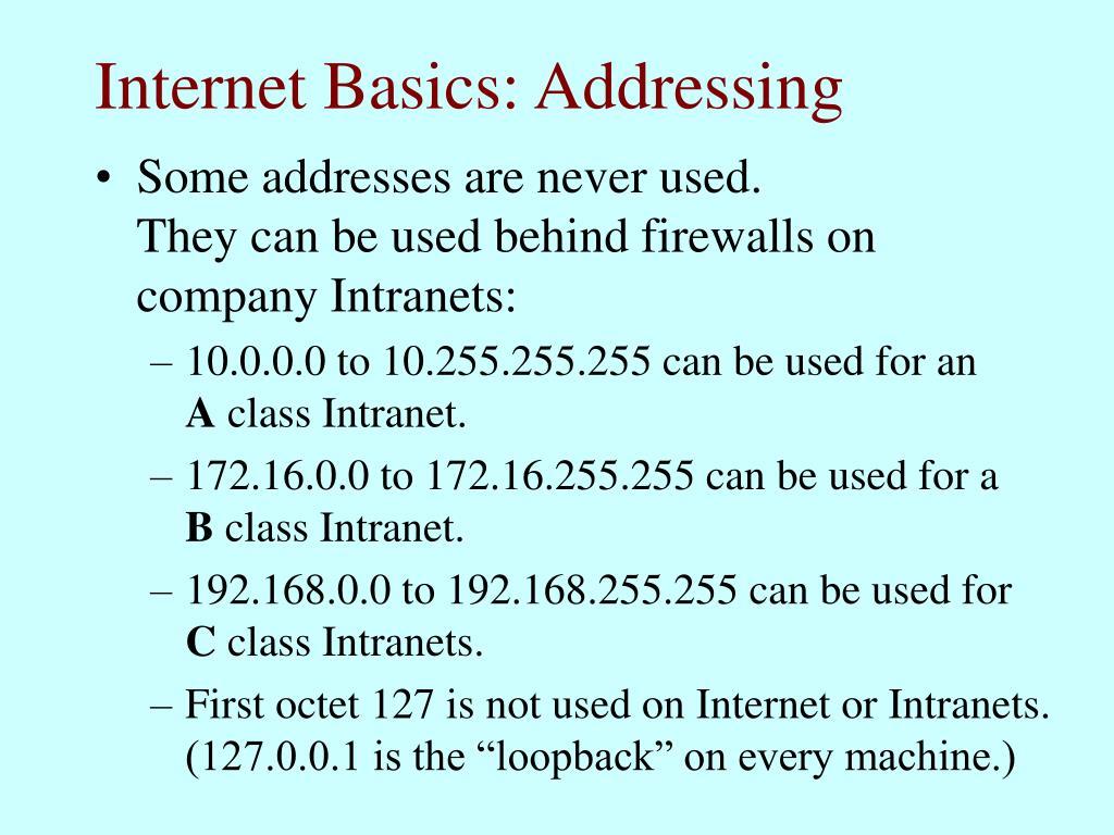 Internet Basics: Addressing