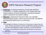 caps harmonic research program