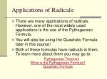 applications of radicals
