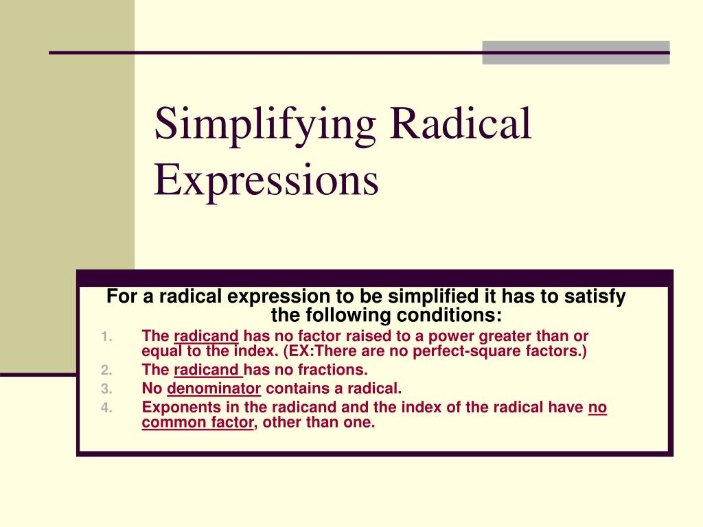 simplifying radical expressions l.