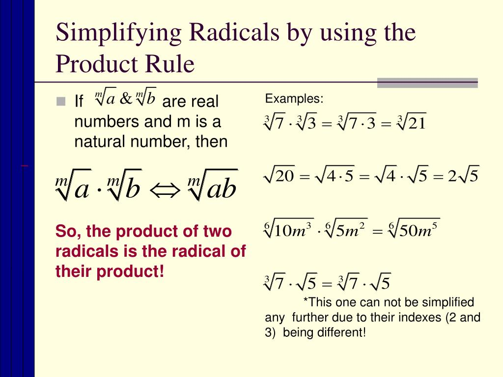 Ppt Simplifying Radical Expressions Powerpoint