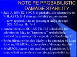 note re probabilistic damage stability