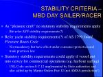 stability criteria mbd day sailer racer