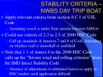 stability criteria nwbs day trip boat
