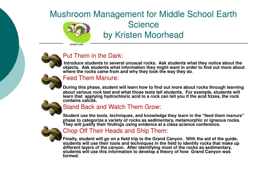 Mushroom Management for Middle School Earth Science