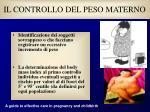 il controllo del peso materno