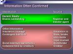 information often confirmed10