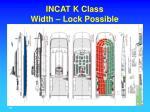 incat k class width lock possible