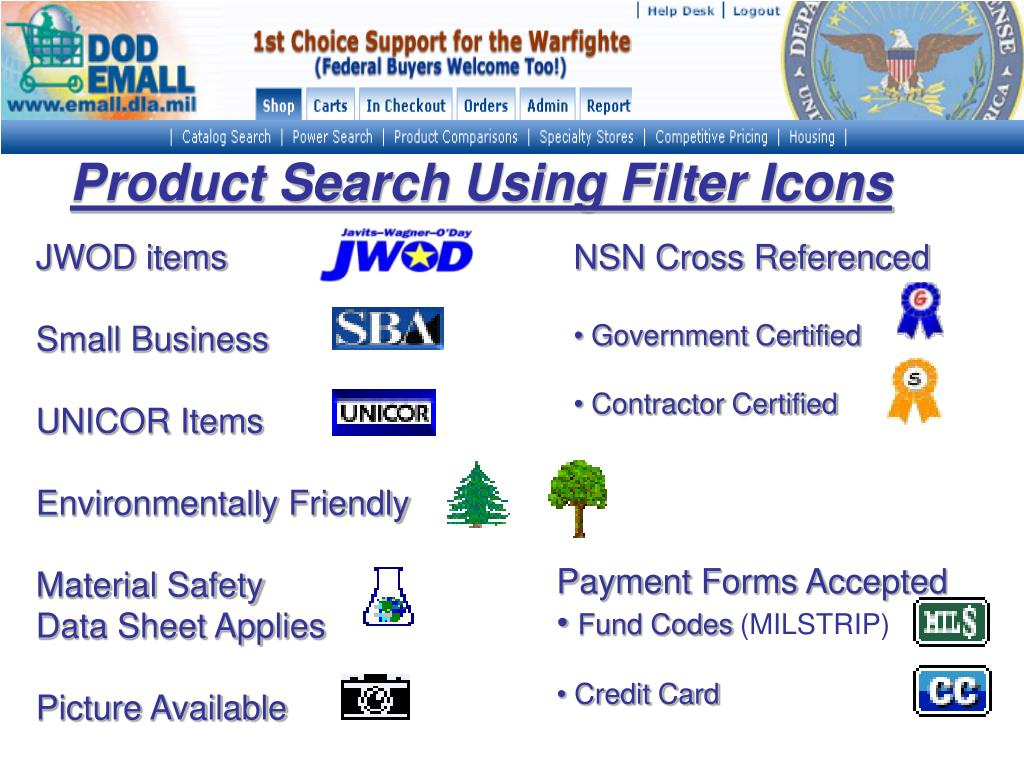 Product Search Using Filter Icons