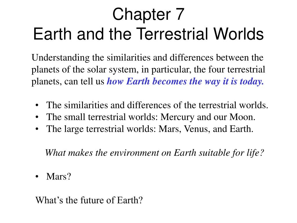 chapter 7 earth and the terrestrial worlds l.