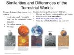 similarities and differences of the terrestrial worlds
